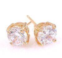 Stud Earrings 18K Yellow Gold Plated Simulated Diamond Men Women Kids UK