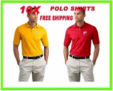 10 Polo Shirts Custom Embroidered - FREE LOGO- Business- Sports- Golf- Team