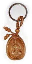 BUDDHA KEY RING FOB WOODEN / WOOD KEYRING / TIBETAN / IN PACKET …