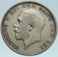 1920 Great Britain United Kingdom UK King GEORGE V Silver Half Crown Coin i83156