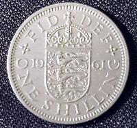 GREAT BRITAIN 1961 ONE SHILLING QEII QUEEN ELIZABETH VERY GOOD Circ Cond.