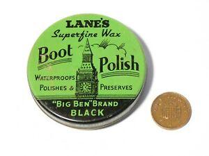 "Vintage "" Single ""  Lane's Boot Polish Big Ben Brand Black Tin  - New Old Stock"
