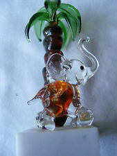 Murano Glass Elephant & Palm Tree
