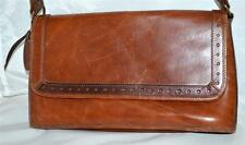 Rolfs Thick Brown Leather with Dotted Trim Flap Front Rectangular Shoulder Bag
