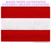 AUSTRIA FLAG PATCH AUSTRIAN EMBLEM EMBROIDERED EMBLEM w/ VELCRO® Brand Fastener