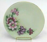 "Vintage Hand Painted & Signed Porcelain Plate Pink Purple Dianthus Flowers 7.5"""