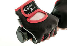 Sport Direct™ Bicycle Bike Lycra Track Gloves Mitts Black/Red Medium