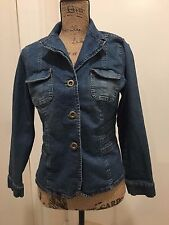 EUC Coldwater Creek Denim Jean Blazer Jacket Fade & Fitted Cotton Spandex - PM