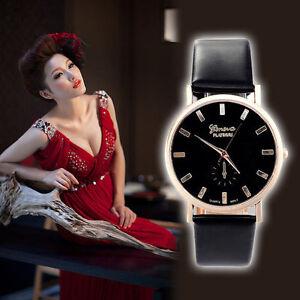 WOMENS ROSE GOLD FASHION DRESS WATCH Black White Faux Leather Strap LADIES 42