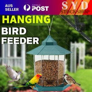 Green Hanging Wild Bird Feeder Seed Container Waterproof Gazebo Shape Outdoor Z