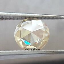 Fancy Rose Cut Round Moissanite For Ring Loose 1.10 Ct 7.28 Mm Vvs2 Light Yellow