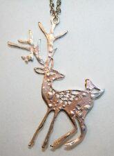 "Shiny ""Speckled"" Openwork Silvertone Deer Pendant Necklace ++++"