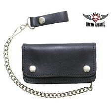 Men's Heavy Duty Black Leather Motorcycle Chain Wallet