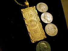 bling gold plated money large 100 dollar bill casino charm chain necklace hiphop