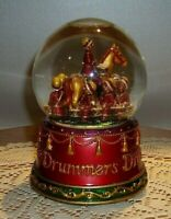 Snow Globe Snow Dome Music Box 12 Days of Christmas, 9 Drummers Drumming 5 3/4""