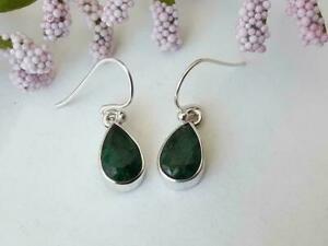 Natural Certified 925 Sterling Silver Handmade Emerald Stone Earring For Her