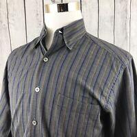 Ermenegildo Zegna Mens Gray Striped Long Sleeve Button Down Shirt Italy Size L