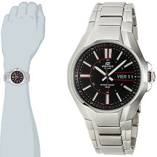 Casio EF-133D-1A Edifice Mens Watch Stainless Steel Dress Black Dial NEW 100M WR