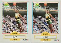 1990-91 FLEER BASKETBALL Shawn Kemp 2x Rookie Card RC Lot NM #178 Supersonics