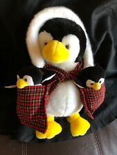 Vintage Commonwealth Plush Penguin Momma And Her Babies 1992 Toy 13 Inches NWT