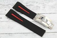 Cinturino Gomma Operativa Nero e Rosso per Rolex GMT-Submariner Nuovo Unisex