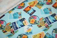 Hilco French Terry Jersey Stoff Hawaii blau bunt Surfen Strand 1m
