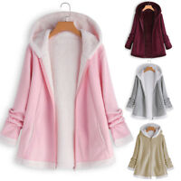Fashion Women's Fashion Winter Pocket Zipper Long Sleeve Plush Hoodie Coat AU