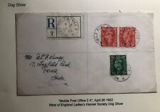 1952 Dog Show Mobil Post Office England Registered Cover To Tring