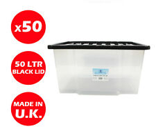 50 x 50 LITRI in PLASTICA Storage Box! qualità Contenitore con coperchio nero impilabile!!