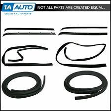 Front Door Window Run Sweep Felts Weatherstrip Seals Kit Set for Chevy GMC Truck