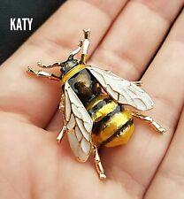 Fab Vintage Enamel Bumble Bee Diamante Rhinestone Brooch Pin Badg Broach