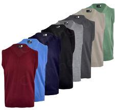 Mens Plain V Neck Sleeveless Sweater Jumper Tank Top Jersey Golf Casual S-5XL