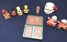 Vintage Christmas Lot Candles Playing Cards Matches Santa Ornaments