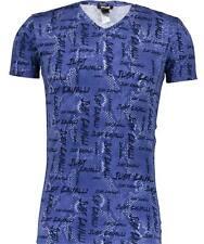 Just CAVALLI DESIGNER MEN'S Blu Serpente Stampato T-Shirt Taglia M-Stretch