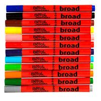 Set 12 Berol BROAD Fibre Tip Felt Marker Assorted Colour Pens Colouring Washable