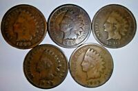 5 Coin Lot Indian Head Penny One Cent 1c Small Cent 1899 1900 1901 1902 1903 P