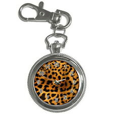 Leopard Print Stainless steel Key Ring, Key Chain Watch for men women Gift NEW