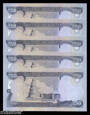 Iraq Dinar 1250 - 5 X 250 Dinar Notes   New & Uncirculated  Set Of 5 Collectible