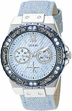 GUESS Womens U0775L1 Iconic Sky Blue Denim Multifunction Watch