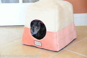 Armarkat Soft Orange Beige Velvet Cat Dog Pet Bed Cave Hut Machine Washable