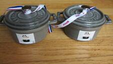 2 Staub Enameled Cast Iron Mini Round Cocottes, 1/4 QT, Gray New