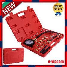 140PSI Gasoline Fuel Injection Pump Pressure Gauge Tester Test Tool Kit w/Case
