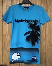 Para hombre/niños Björkvin Turquesa Con Diseño Tropical Negro T-Shirt. Talla pequeña
