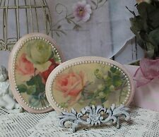 """Shabby Chic Vintage Country Cottage style Wall Decor Sign """"Roses"""" Perl Accents"""