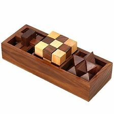 3-in-One Wooden Puzzle Games Set - 3D Puzzles for Teens and Adults - Includes in
