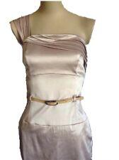 Black Halo Tan/Camel One-shoulder Jackie O belted sheath Dress 6 medium Celeb
