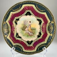 Royal Vienna Decorative Cabinet Plate Applied Gilt Decor 9.75in Chip As Is U325