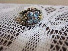 BARBARA BIXBY FLOWER BLUE TOPAZ RING STERLING & 18K GOLD NEW SIZE  JEZZABEL 10