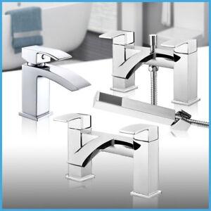 Lucia Square Bathroom Chrome Sink Basin Mono Mixer Bath Filler Shower Tap Brass
