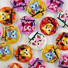 10/50/200/500pcs mixed Owl Birds cartoon wood round buttons 20MM craft DIY